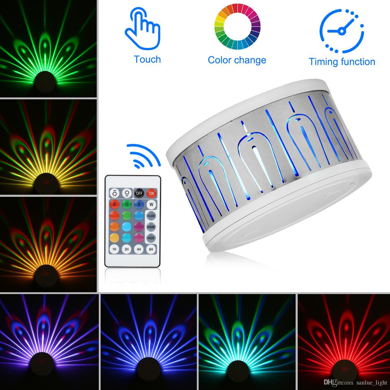 Lampe de projection changeable Peacock coloré tactile télécommande projecteur LED Night Light Décoration Chambre Bébé Lampes de chevet mur