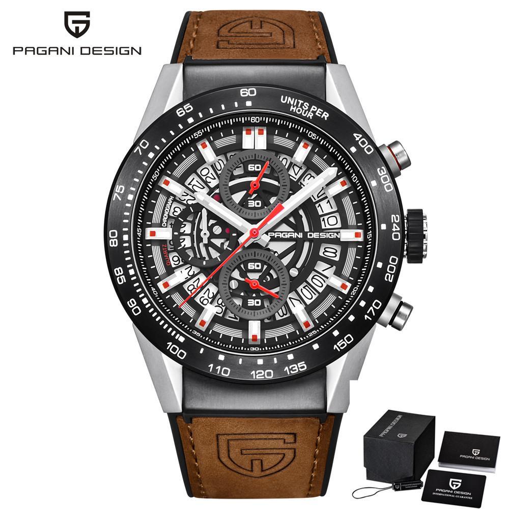 PAGANI DESIGN Fashion® Skeleton Sport Montre chronographe bracelet en cuir Quartz Montres Hommes Top Marque de luxe Horloge étanche