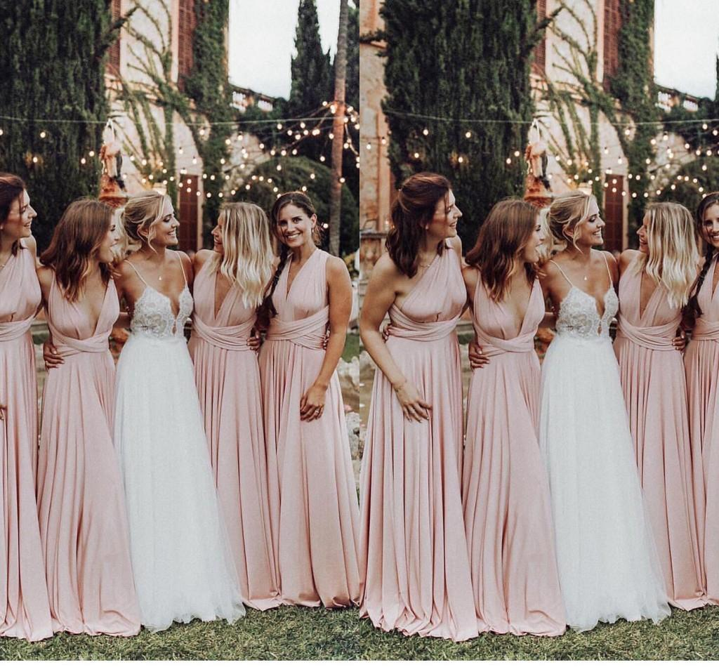 Light Pink Convertible Bridesmaid Dresses One Shoulder V Neck Straps Pleats A Line Floor Length Maid Of Honor Gown Country Wedding Wear Short Bridal Dresses Short Bridal Gowns From Topfashion Dress 83 84 Dhgate Com