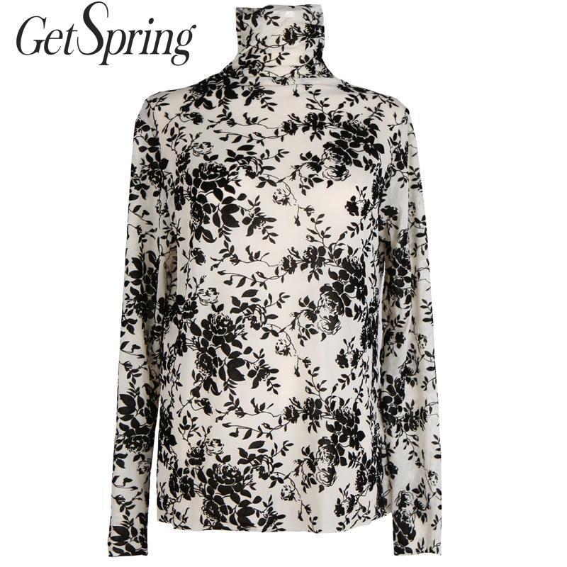GetSpring 여성 블라우스 꽃 인쇄 풀어 레이스 블라우스 터틀넥 긴 소매 여성 셔츠 중공 아웃 메쉬를 바닥으로 새로운 탑