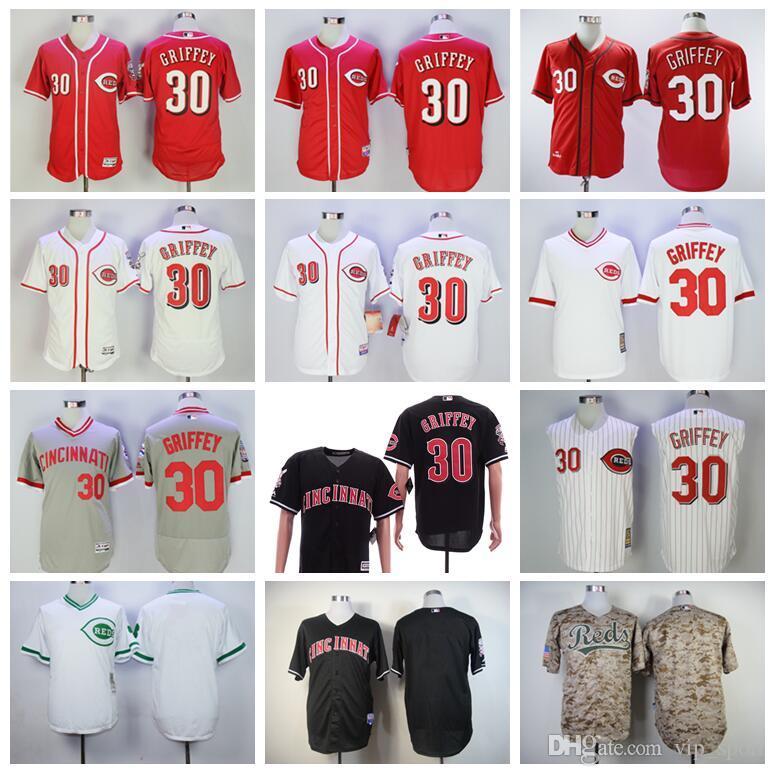 الرجال بيسبول عتيقة 30 كين Griffey Jr جيرسي 1976 2000 يتقاعدون Pullover Flexbase كل خياطة Pinstripe فريق اللون الأحمر الأبيض الأسود الرمادي
