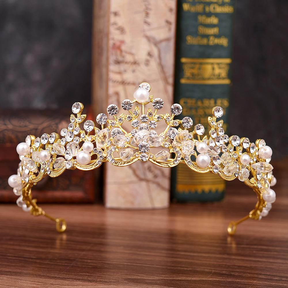Dinner Jewellery H1131 new Korean water diamond pearl crown fashion Handmade Beaded Bridal headdress hair accessories wedding accessories