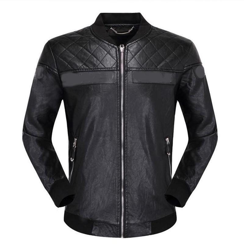El diseñador de moda para hombre de las chaquetas de cuero del soporte collar de la vendimia Negro Hombres Abrigos de la cremallera de invierno abrigo de primavera de algodón Añadir capas calientes de la ropa