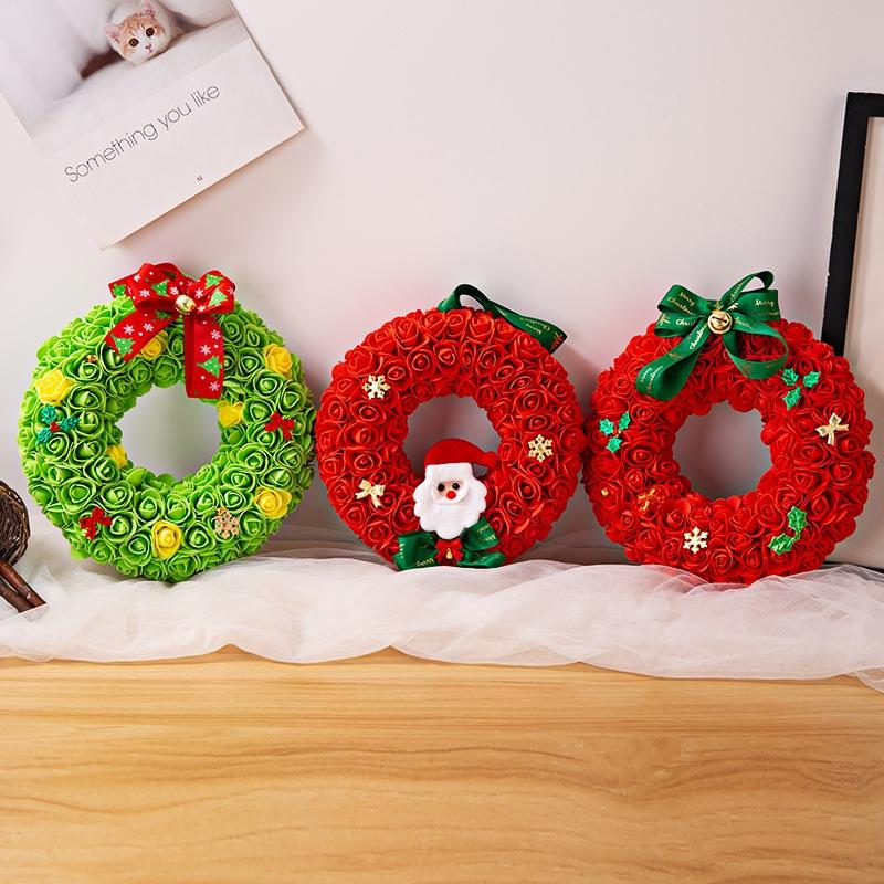 Foam Rose Flowers Wreath Pendants Decorative Wall Hanging Garland Ornament Holiday Craft Decorations