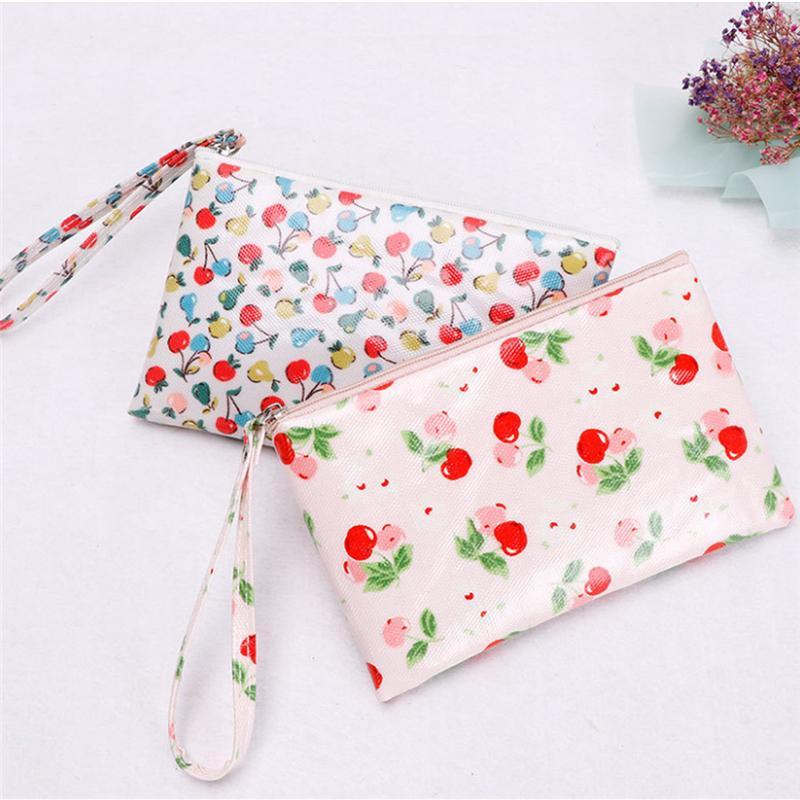 Nouvelle arrivée Toile imprimé floral sac cosmétique Sacs de maquillage Zipper filles sac multi-fonctions Toiletry Portable Voyage