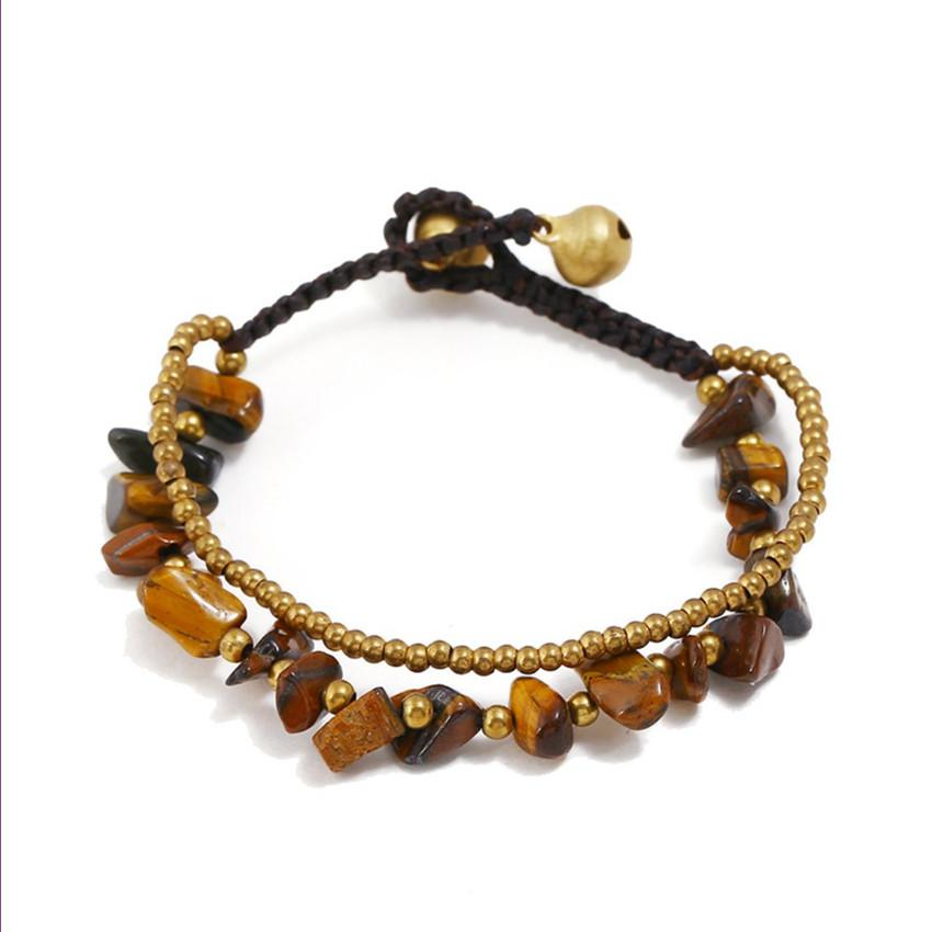 Wholesale 10 Pcs Copper Plated Beads Irregular Shape Tiger Eye Stone Bracelet Red Coral Handmade Weave Jewelry