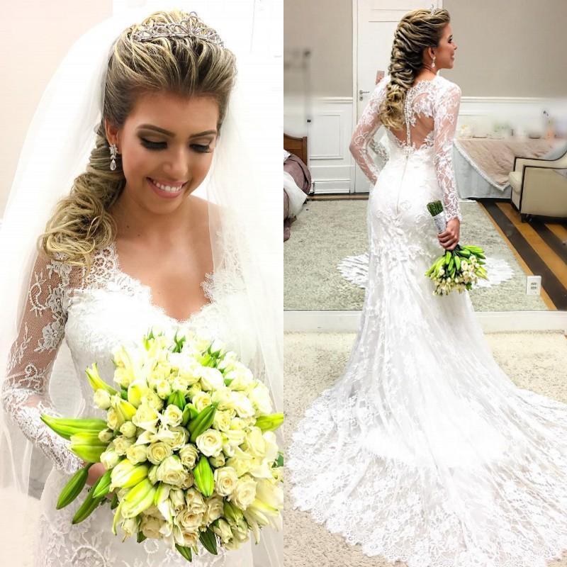 Romantische Spitze Mermaid Brautkleid mit Sheer 2020 mit langen Ärmeln Covered Knopf Boho Country Garden vestido de novia