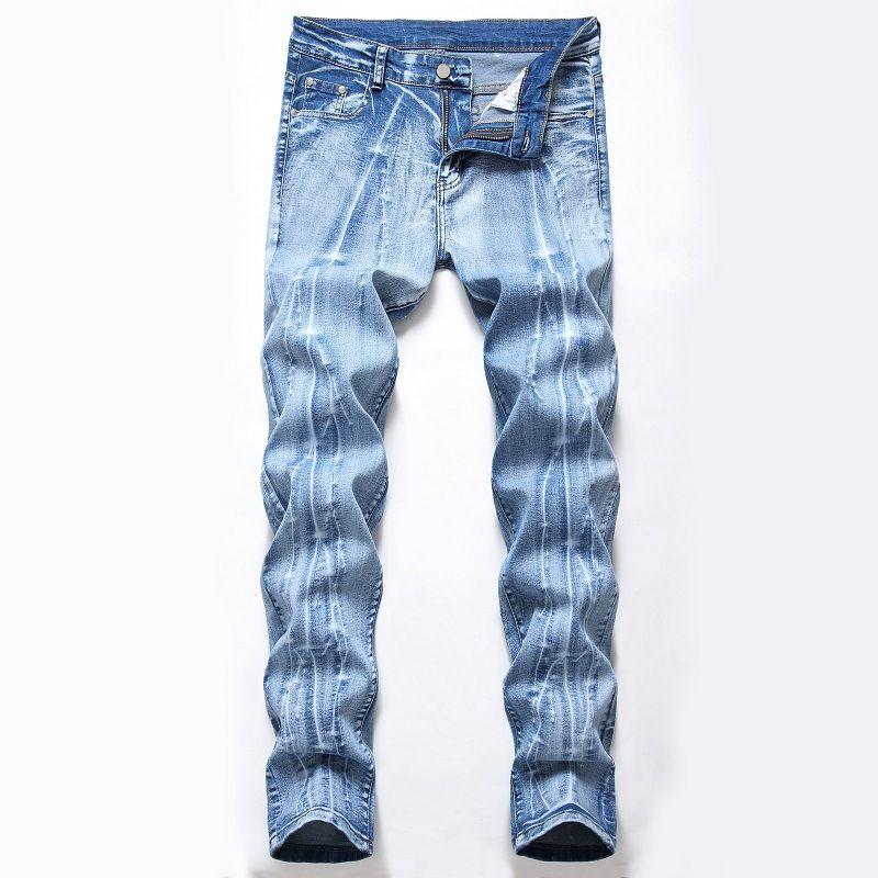 Мужские джинсы тонкий Fit стрейч прямые негабаритных делать-старые джинсовые брюки промывают носить белые дикие случайные брюки панк уличной 28-42