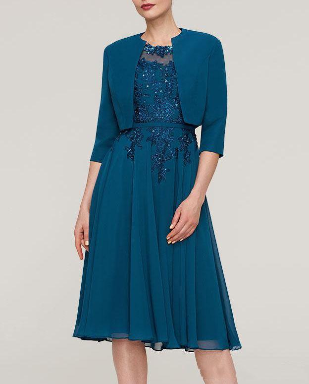المرأة الأنيقة الزرقاء الشيفون مع المحدبة appliqued مغرفة الرقبة 2 قطعة أم فستان العروس طول الركبة مع أثواب حزب سترة