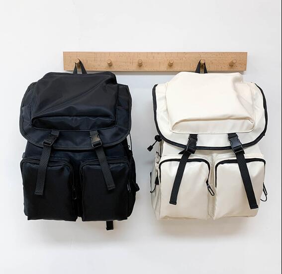 2020 Unissex Mochila Man Travel Bag Grande Capacidade Plain Student Mochilas nylon impermeável vários bolsos