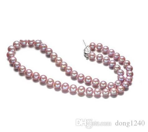 Envío gratis elegante de 9-10 mm ronda lavanda collar de perlas 18 pulgadas 925 s