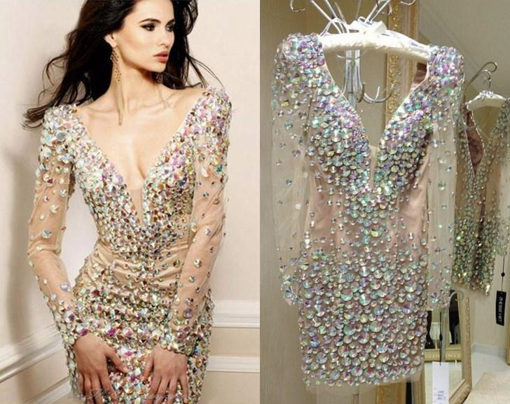 Real Image Bling Rhinestone Cocktail Party Dresses Sexy Deep V Neck Long Sleeves Club Wear Dress Zipper Bak Short/Mini Prom Gowns