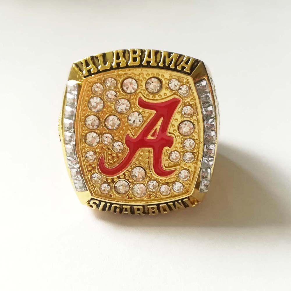 2008 Alabama Crimson Tide Saban Sugar Bowl Collge Football Championship Ring Size 11 Gold American Fan Souvenirs Alloy Ring