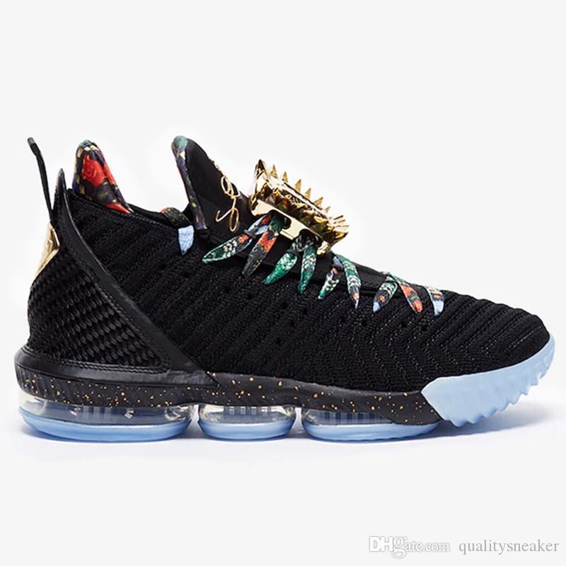 New lebron 16 Regarder le Trône de basket-ball Chaussures Hommes Noir Métallisée gel or Rose James 16 KC or lacelocks Hommes Entraîneur sportif Sport