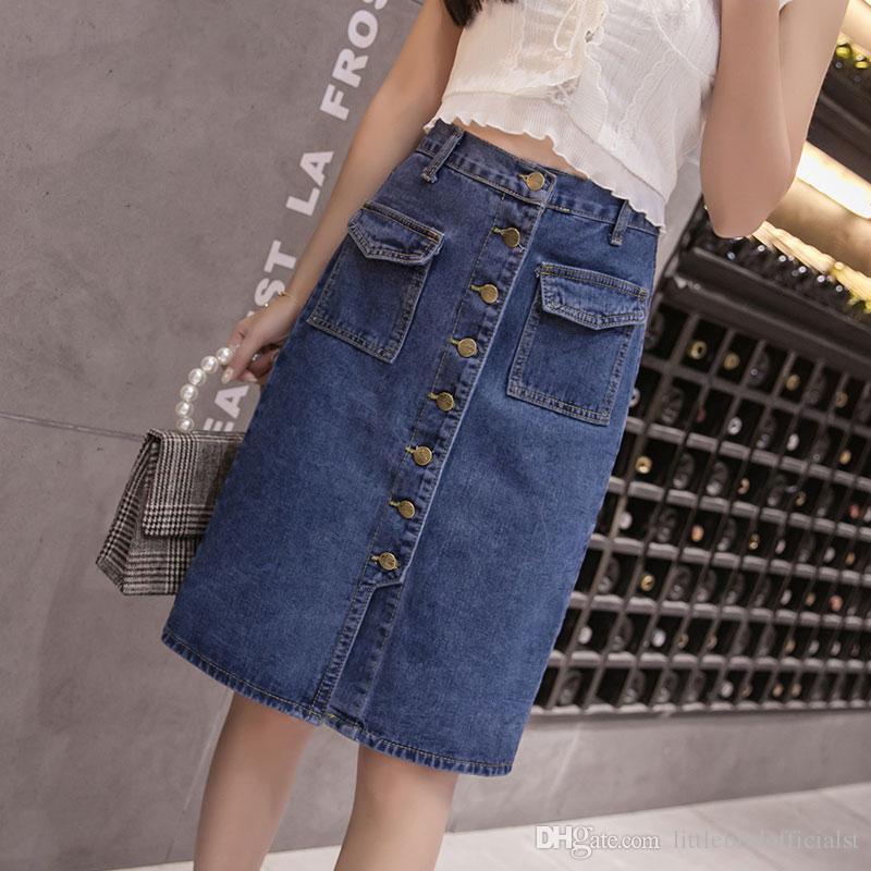 Mode coréenne taille haute jupe plus la taille boutons boutons poches Jeans classique jupe pour les femmes S-5XL élégante femme