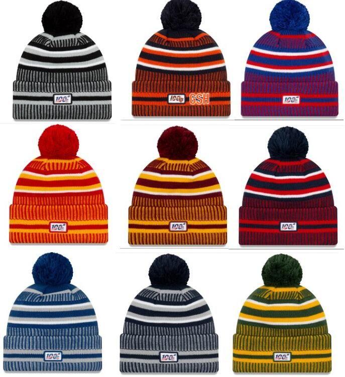Yeni Sideline Beanies Kafatası Şapka Amerikan Futbolu 32 takım Spor kış yan çizgisi örgü bereler Beanie Örgü Şapka hızlı sevkiyat Caps
