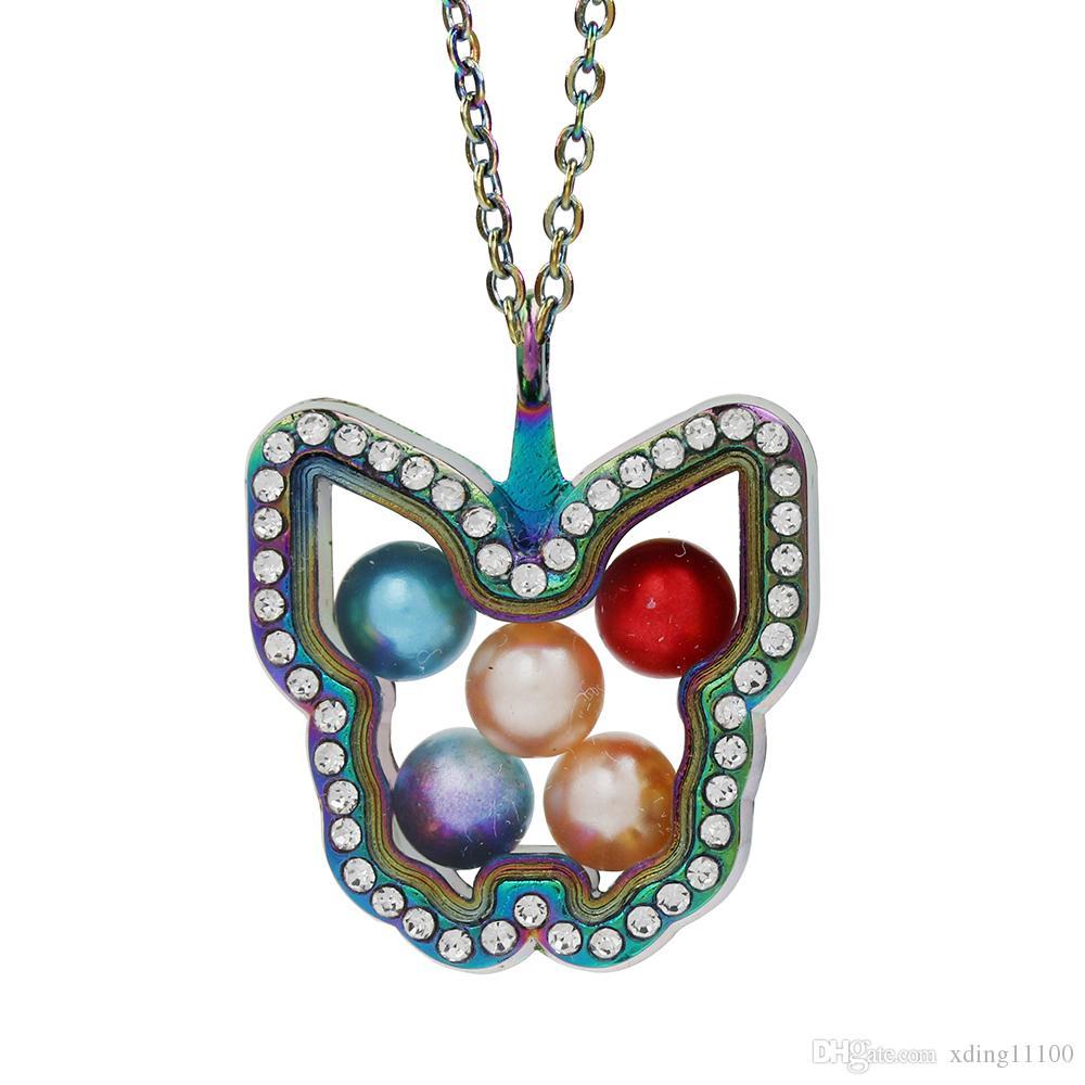 Rainbow Butterfly Glas-Magnet-hängende Halsketten-Perlen Käfig lebende Gedächtnis Schwimmdock-Charme-Anhänger, mit Edelstahlkette