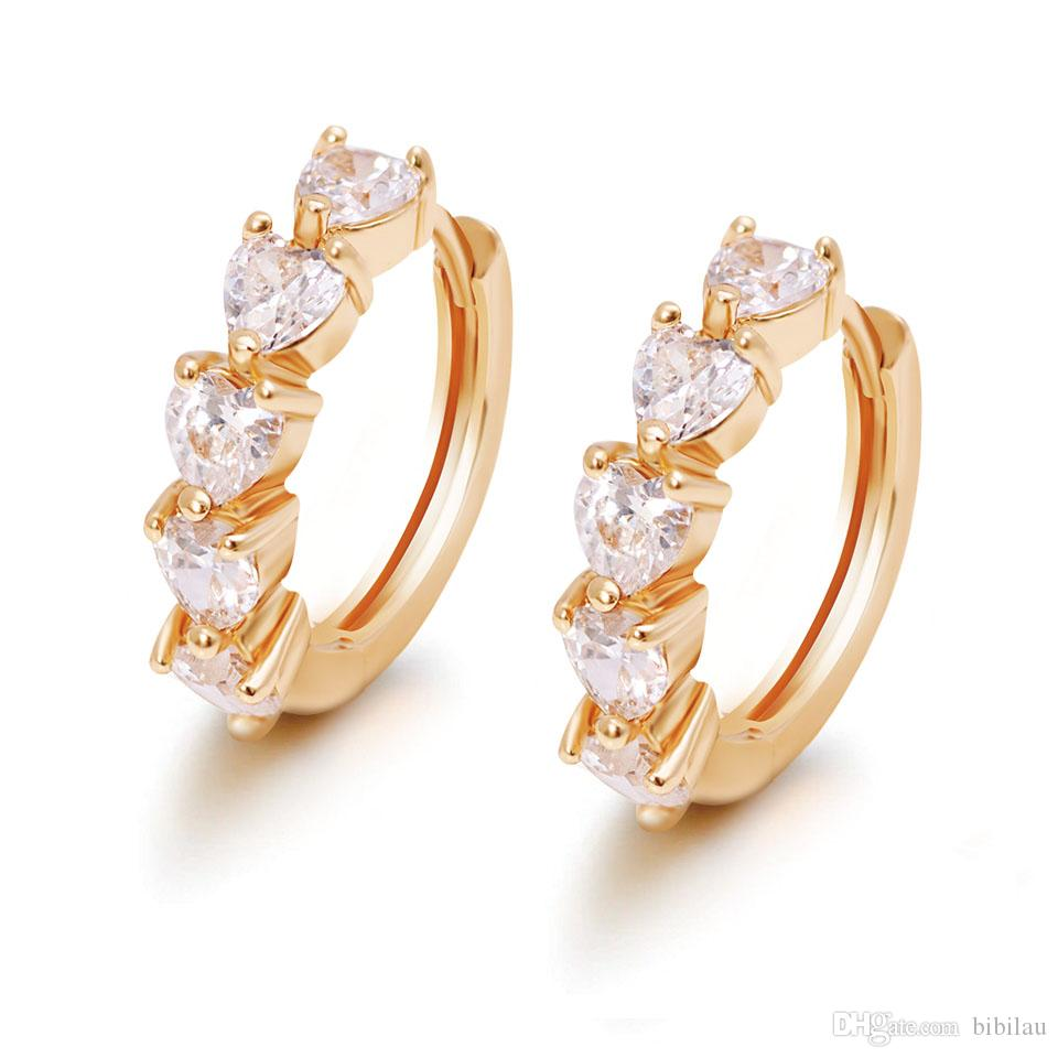 (348F) Nouveau 18k plaqué or Boucles d'oreilles coeur pour les femmes avec CZ Gems
