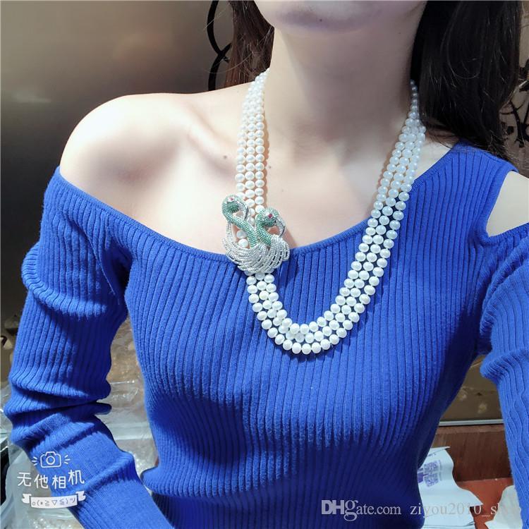 Annodato a mano 3Strands 7-8mm bianco perla d'acqua dolce coltivata micro intarsi accessori zircone cigno fibbia flowersweater lunga collana 48-53cm