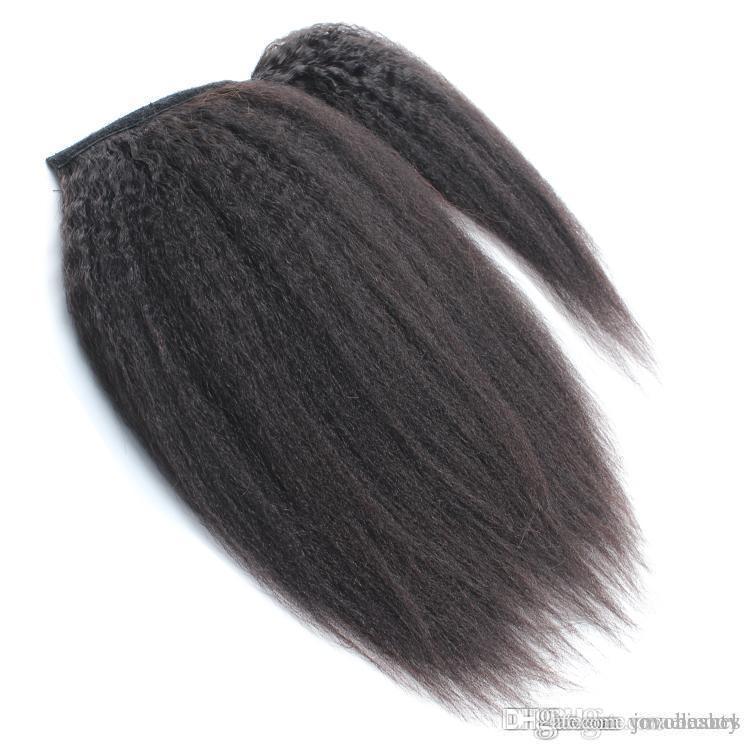 VM cutícula brasileira Alinhados 100g 120g garra grampo Em Kinky Staight Rabo Virgin cabelo Pieces Cavalinha Wrap Around rabo de cavalo cabelo humano