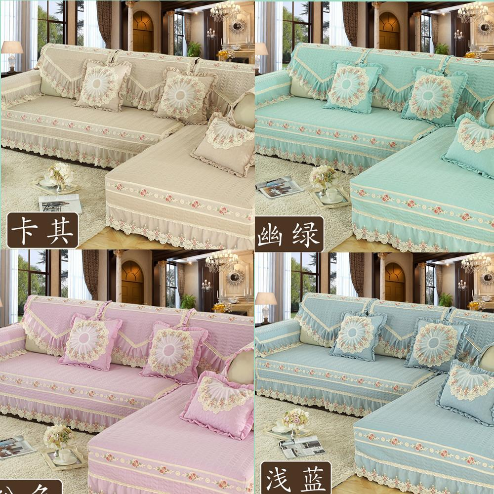 Simple Modern Solid Color Polyester / Cotton Non Slip Sofa Cover Cushion  Backrest Pillow L Shaped Lace Couch Cover Customized White Dining Room  Chair ...