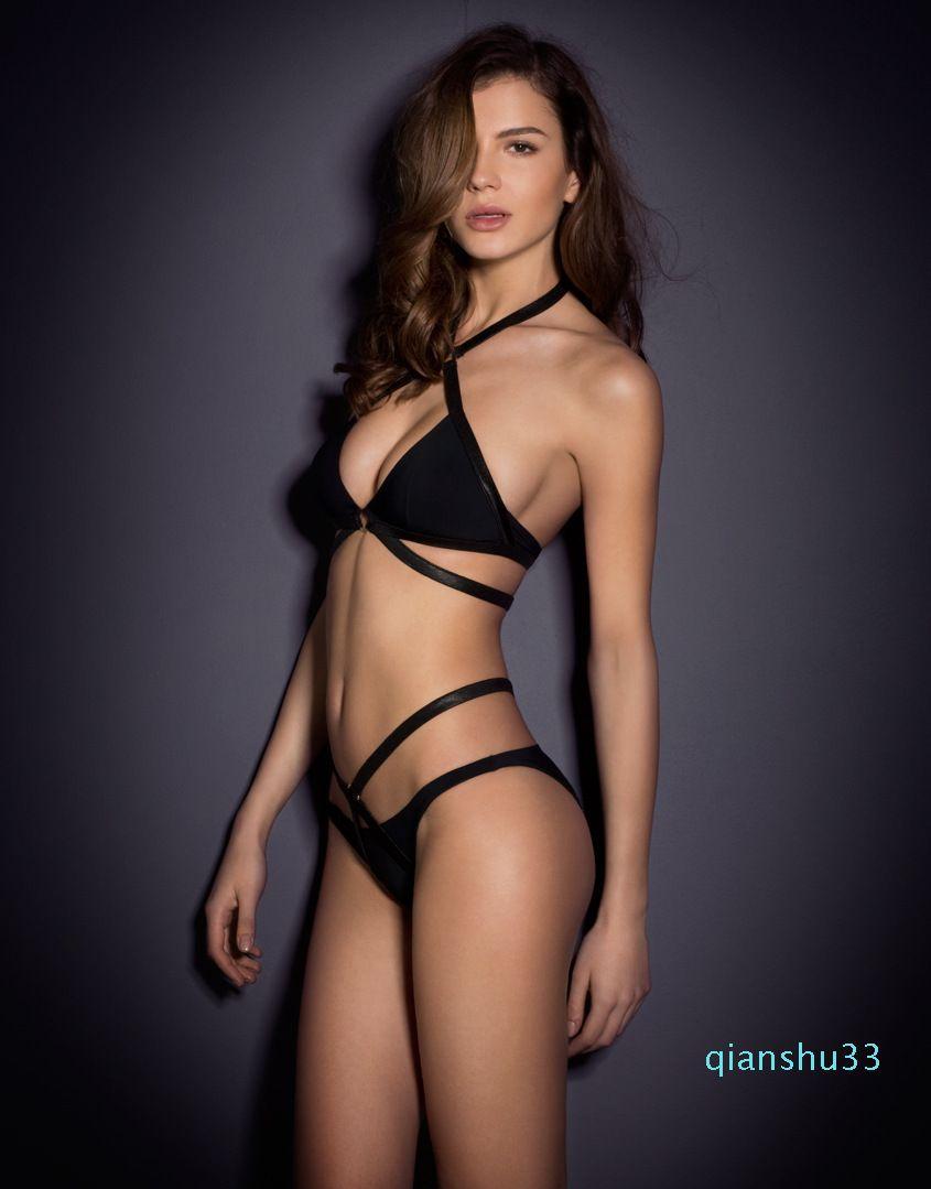 Manera- bikini de dos piezas Conjunto Negro Ropa de natación para las mujeres cabestro arriba atado Bondage atractivo del traje de baño