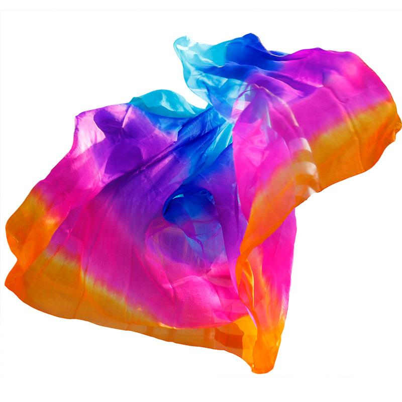 Design 100% Real Silk Belly Dance Veil Popular Gradient Color Hand Dyed Dance Accessories Belly Dancing Veil 5 Sizes Customized
