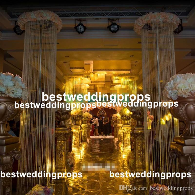 새로운 스타일 높이 결혼식 기둥 꽃 스탠드, 복도 인테리어 best556에 대한 은색 금속 꽃병 중심