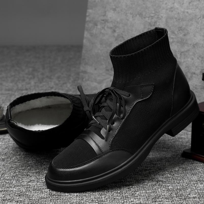 grandi dimensioni scarpe di cotone imbottito di lavoro nero caldo sicurezza pelliccia scarpe da uomo per il tempo libero in pelle morbida stivali di peluche inverno neve