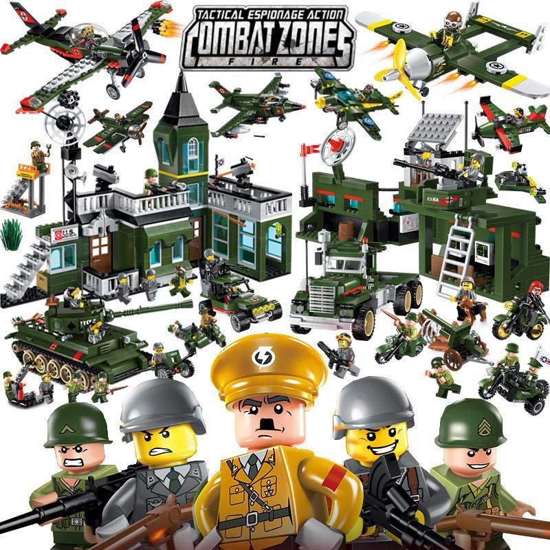 تنوير اللبنات التعليمية العسكرية لعب للأطفال الهدايا لذيذ جيب موتو بطل الحرب العالمية شكرا Y190606