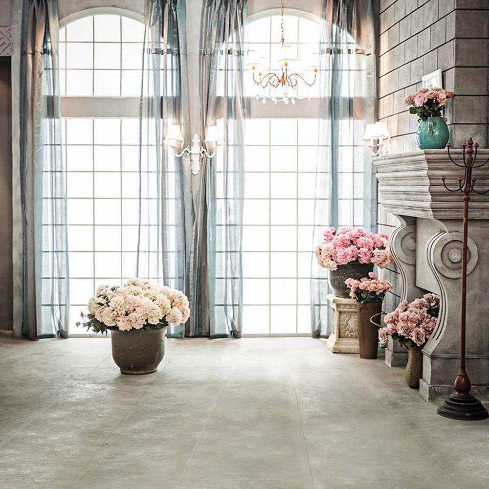 Fenêtre intérieure Fond De Mariage Pour La Photographie Imprimé Rideaux Lustre Fleurs Fleurs Vases Photo Studio Décors Vinyle