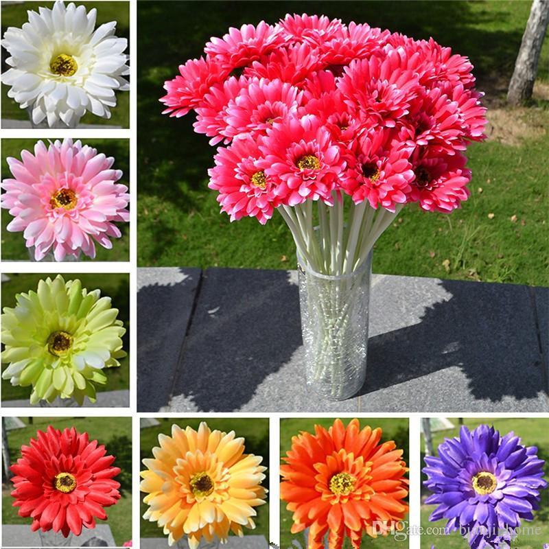55cm 20pcs Simulation de fleur de Gerbera artificielle Daisie africaine pour la fête de mariage Décoration de la fête de mariage Gerberas Fleurs