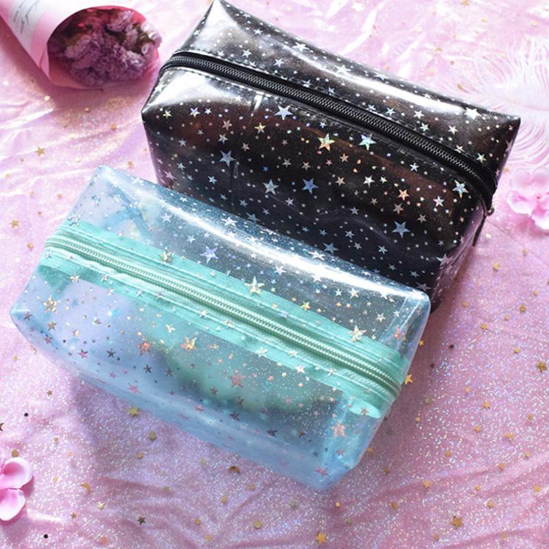 Bolsas jalea de las mujeres del bolso de embrague cosmético del bolso de señora transparente del almacenaje del sostenedor del organizador del recorrido de Corea lindo maquillaje muchachas de la historieta