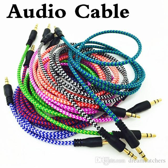 Geflochtene Audio Hilfskabel 1m 3,5mm Welle AUX Verlängerung Stecker auf Stecker Stereo Auto Nylonschnur Jack für Samsung-Telefon PC MP3-Kopfhörer-Lautsprecher