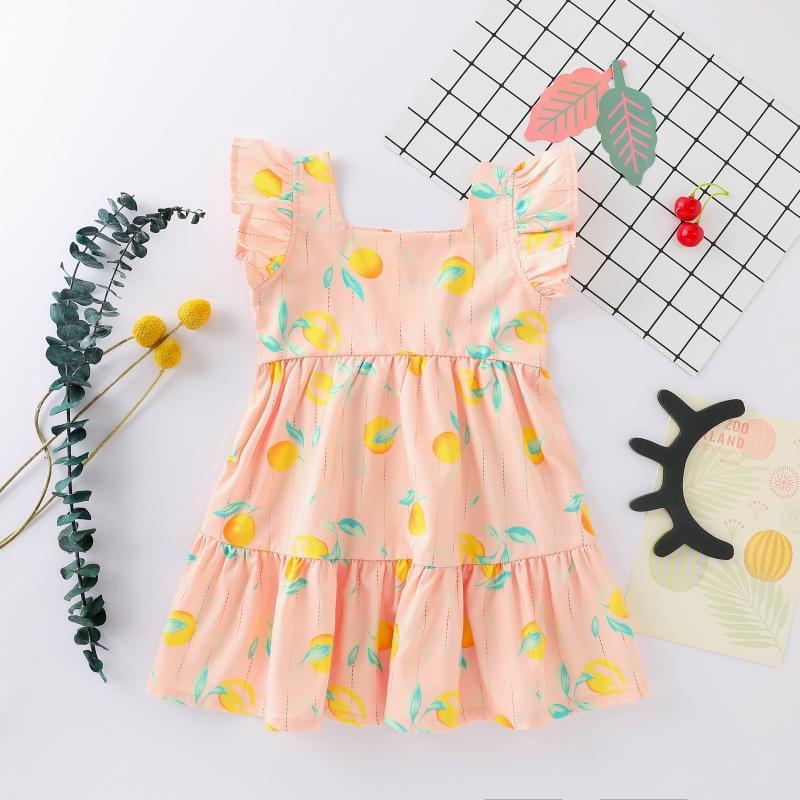 Summer Infant bebê Praça de colarinho Vestido Casual Bebés Meninas Crianças alargamento da luva Fruit Pattern Blusa Vestido