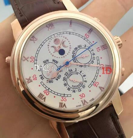 Top venda Mens Automatic relógios Six agulha Correia Mecânica Sports Business Sky Lua PP Mens Watch Homem de pulso frete grátis