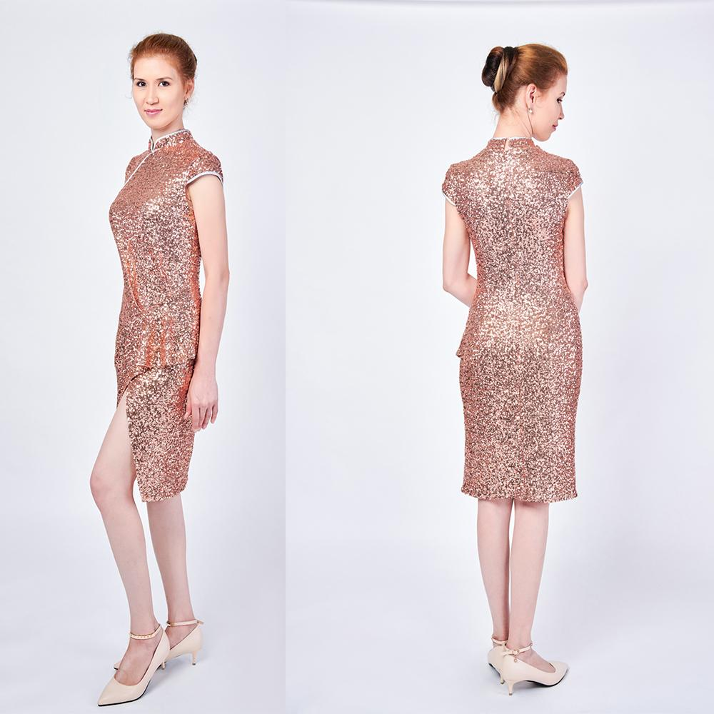 Fashion Women Elegant bodycon Cocktail Dress High Neck Ruffles Slit Elegant Glitter Sequin Chi-pao Prom Dress