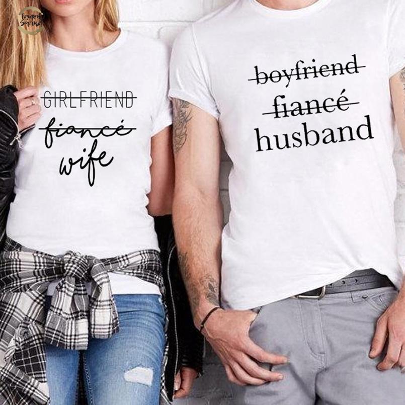 Fashion Koppels T Shirt Vriendin Vriendje Verloofde T Shirt Bijpassende Streetwear Huwelijkspress Birthday Gift T Shirt Drop Shipping