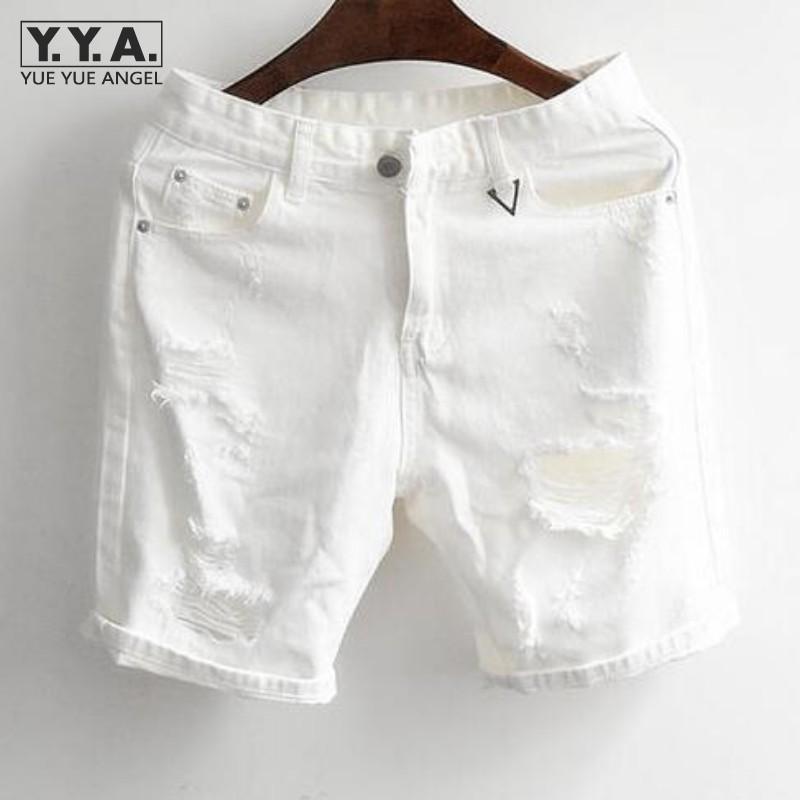 Marka Vintage Erkek Yaz Denim Siyah Beyaz Klasik Pantolon Büyük Delik Pamuk Şort Diz Boyu Jeans Ücretsiz Kargo