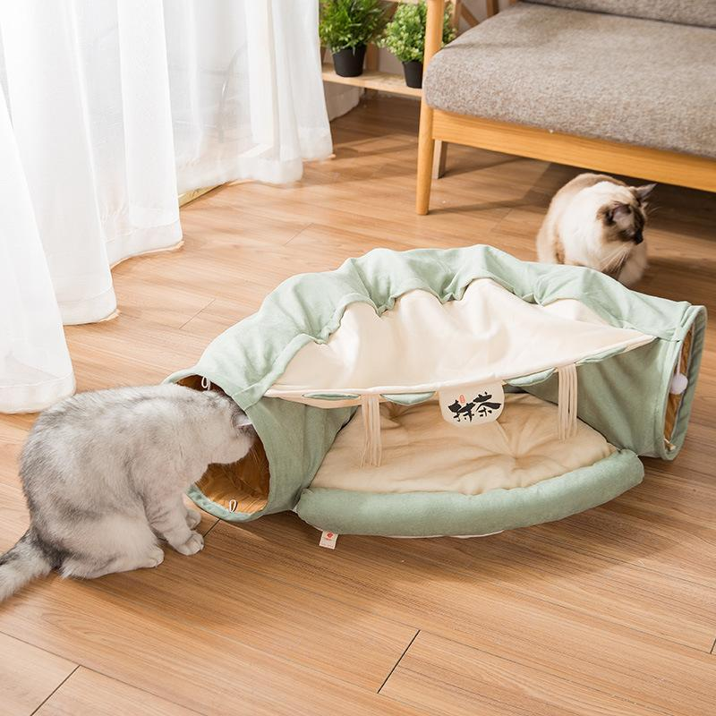 Toy Foldable Tunnel Channel Roll Totoro Nest Pet Supplies Bed House Cat Mat T200618
