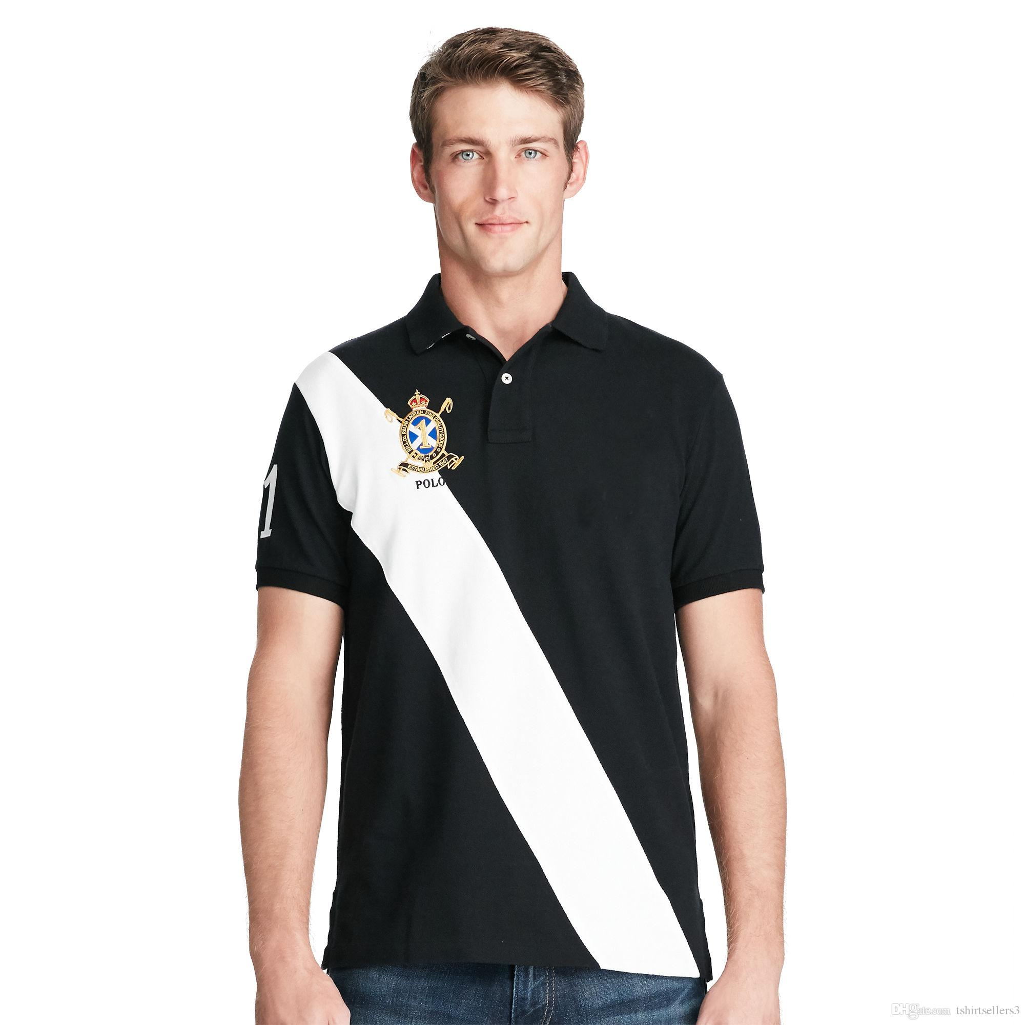 Livraison gratuite! 2018 Nouveau arrivé classique trois couleurs couronne 2 # T-shirt à manches courtes grand cheval Polo pour hommes 100% coton