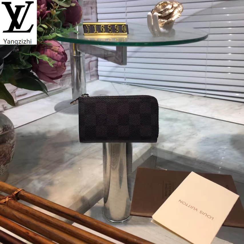 Yangzizhi New Haig Damier Graphite Car Key Case N64410 Long Wallet Chain Wallets Compact Purse Clutches Evening Key