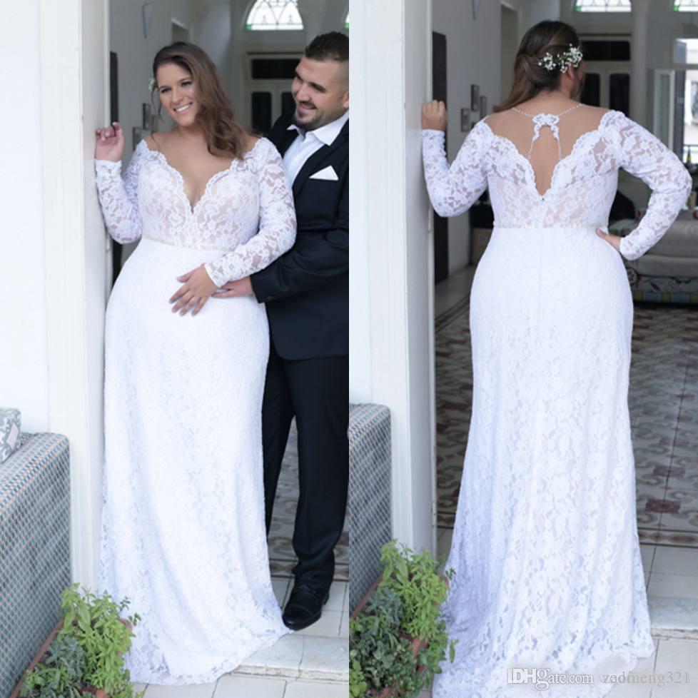 2020 Plus Size Vestidos de Noiva de Laço com mangas compridas V-pescoço de praia de sereia de praia de praia vestido de noiva do chão boho vestidos nupciais