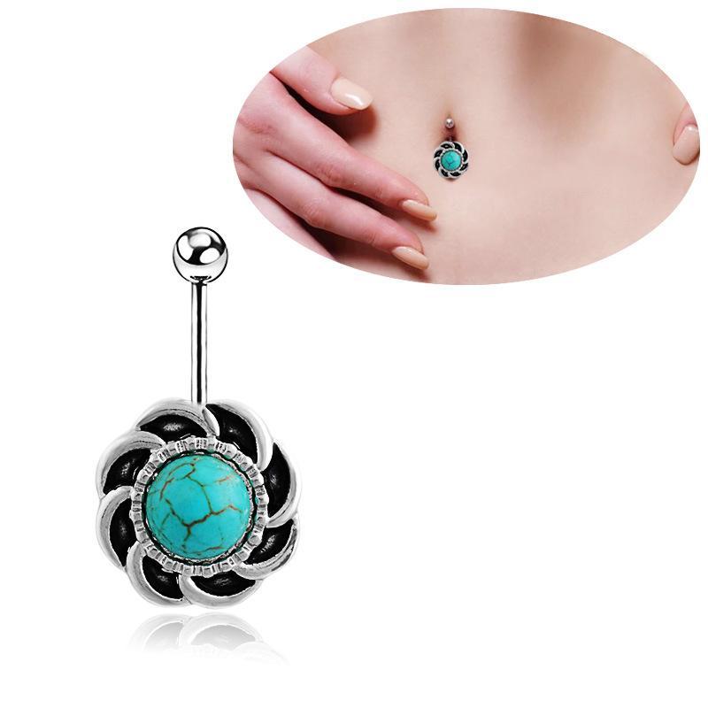Sexy Wasit Bauchtanz-Weinlese-Grün Stein Körperschmuck Edelstahl Strass Navel Bell-Knopf Piercing Dangle-Ringe für Frauen