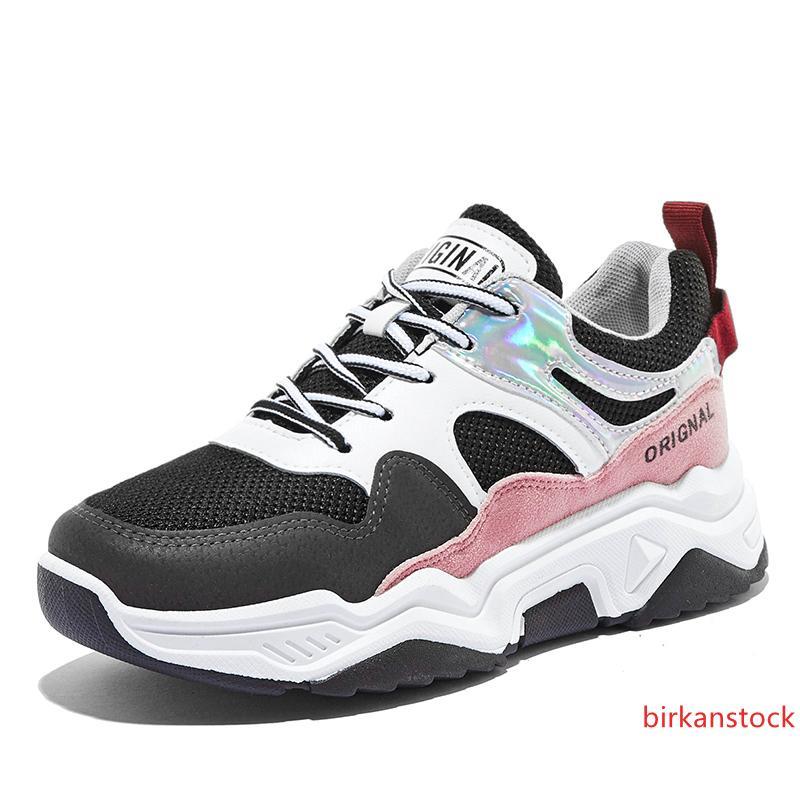 Encargo al por mayor de impresión con malla para las mujeres zapatos casuales niñas zapatos de la marea 2019 calzado deportivo nuevo otoño-Grueso de fondo