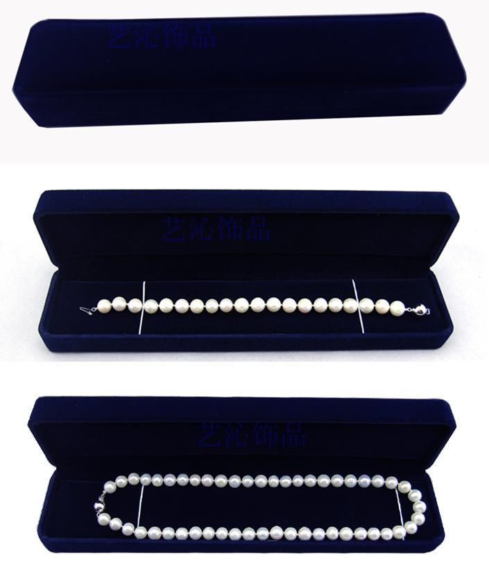 24.5CM * 5CM * 3.5CM velours boîte à bijoux longue perle collier boîte cadeau boîte pour double cordes