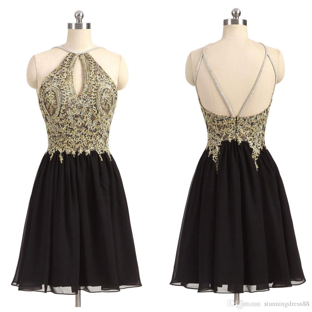 Amazing Gold Lace Embroidery Short Homecoming Prom Dress Halter Chiffon Backless with Straps Ruched Cheap Party Graduation Cocktail Dress