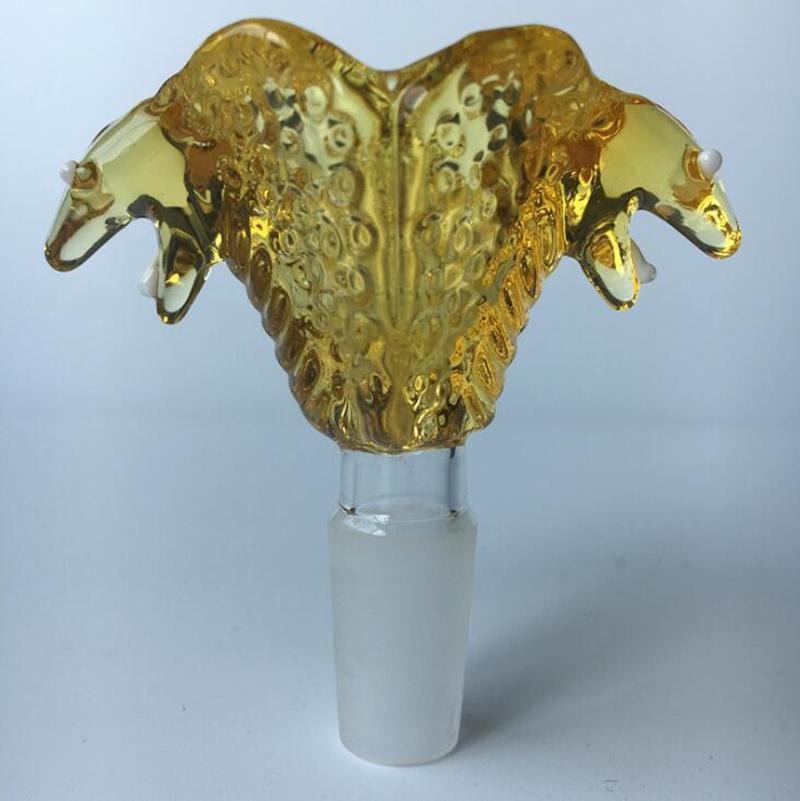 Colorido Pyrex 14 milímetros 18 milímetros Glass Bowl Joint Serpente bonito Design Fumar Handmade cabeça Colorido Erva por Fumar Bong Hookah Cachimbo