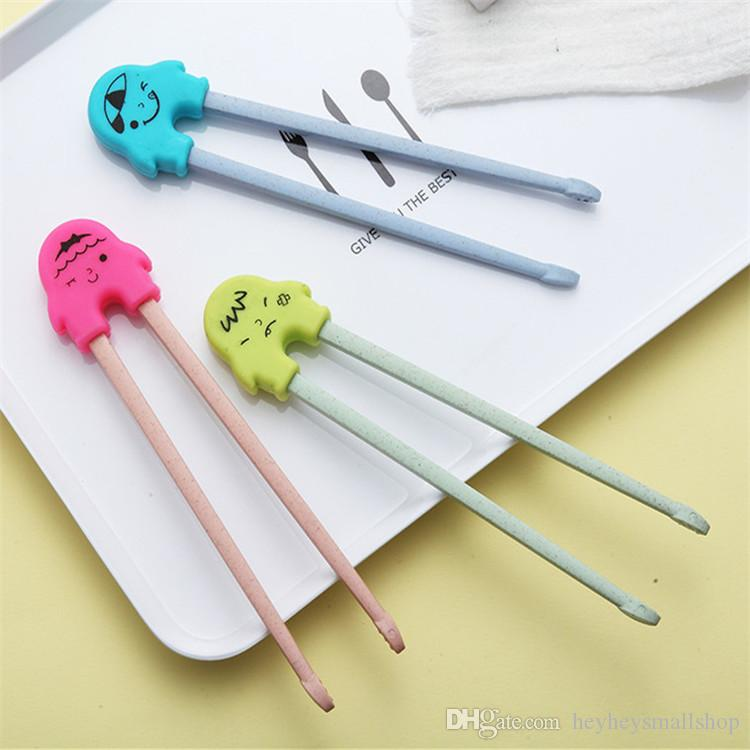 Palitos de treinamento de pauzinhos de trigo e pauzinhos de bebê de plástico Chopsticks de treinamento de pauzinhos de aprendizado com desenhos de silicone