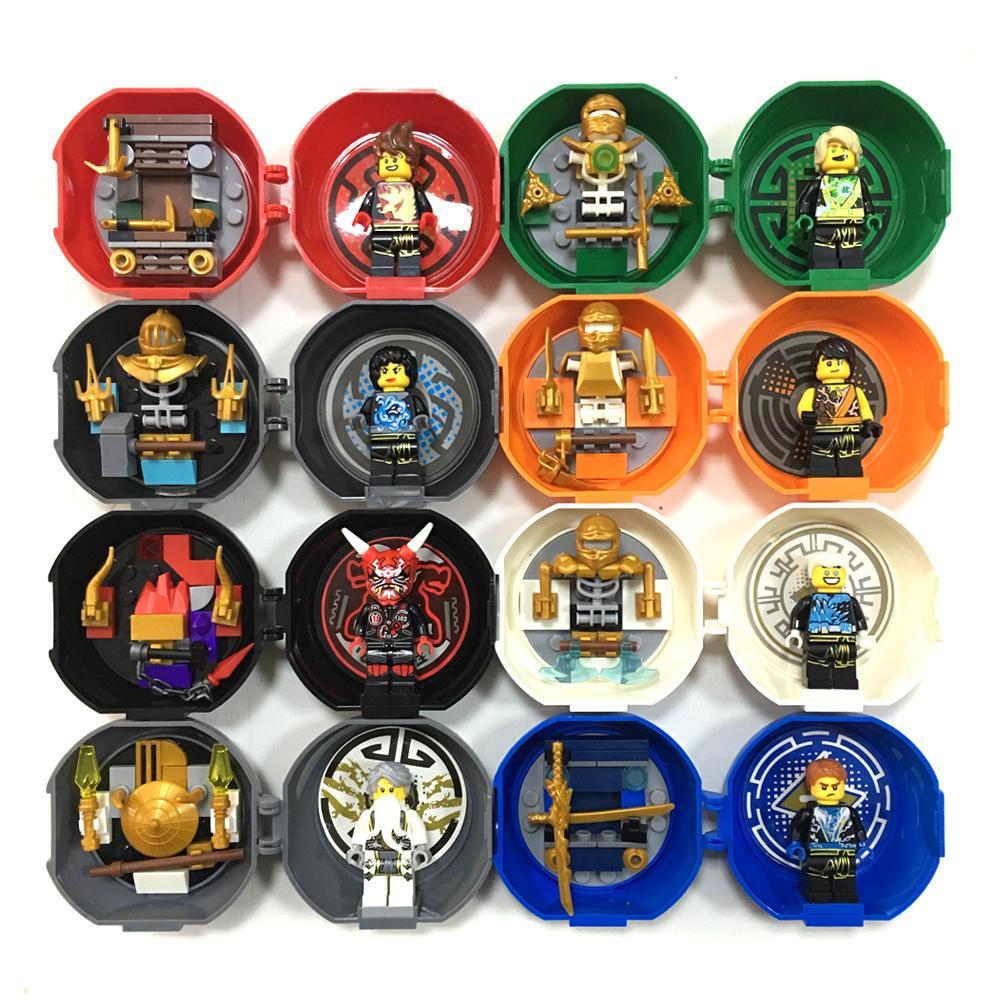 8 Minifigs In 1 Swordsman Ninja Kendo Training Pod Mini Figures Pack Kai Jay Cole Zane Lloyd Master Wu Building Blocks Toys Kids J190722